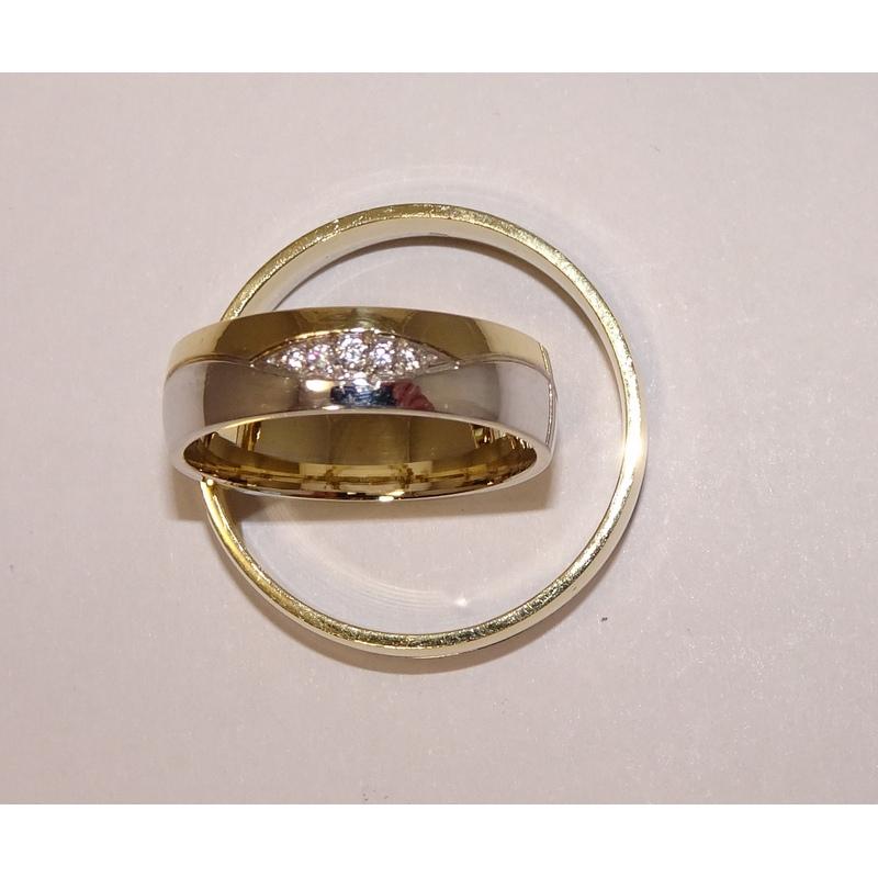 Sárga-fehér arany karikagyűrű pár